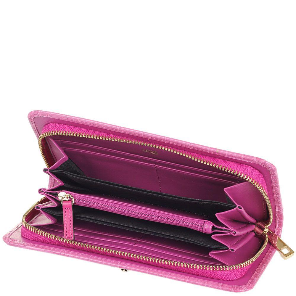 Портмоне женское Cavalli Class Daphne из тисненой кожи розового цвета на молнии