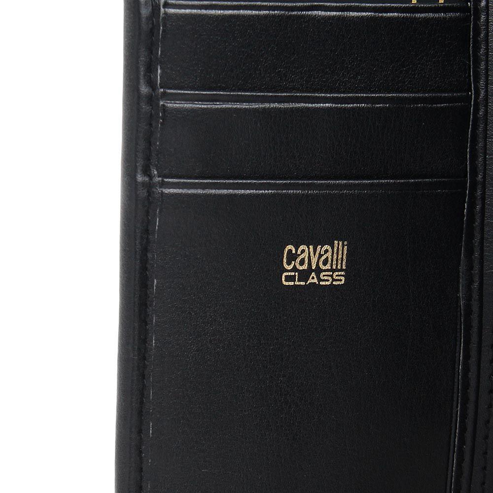 Портмоне женское Cavalli Class с леопардовым принтом и черной кожаной окантовкой