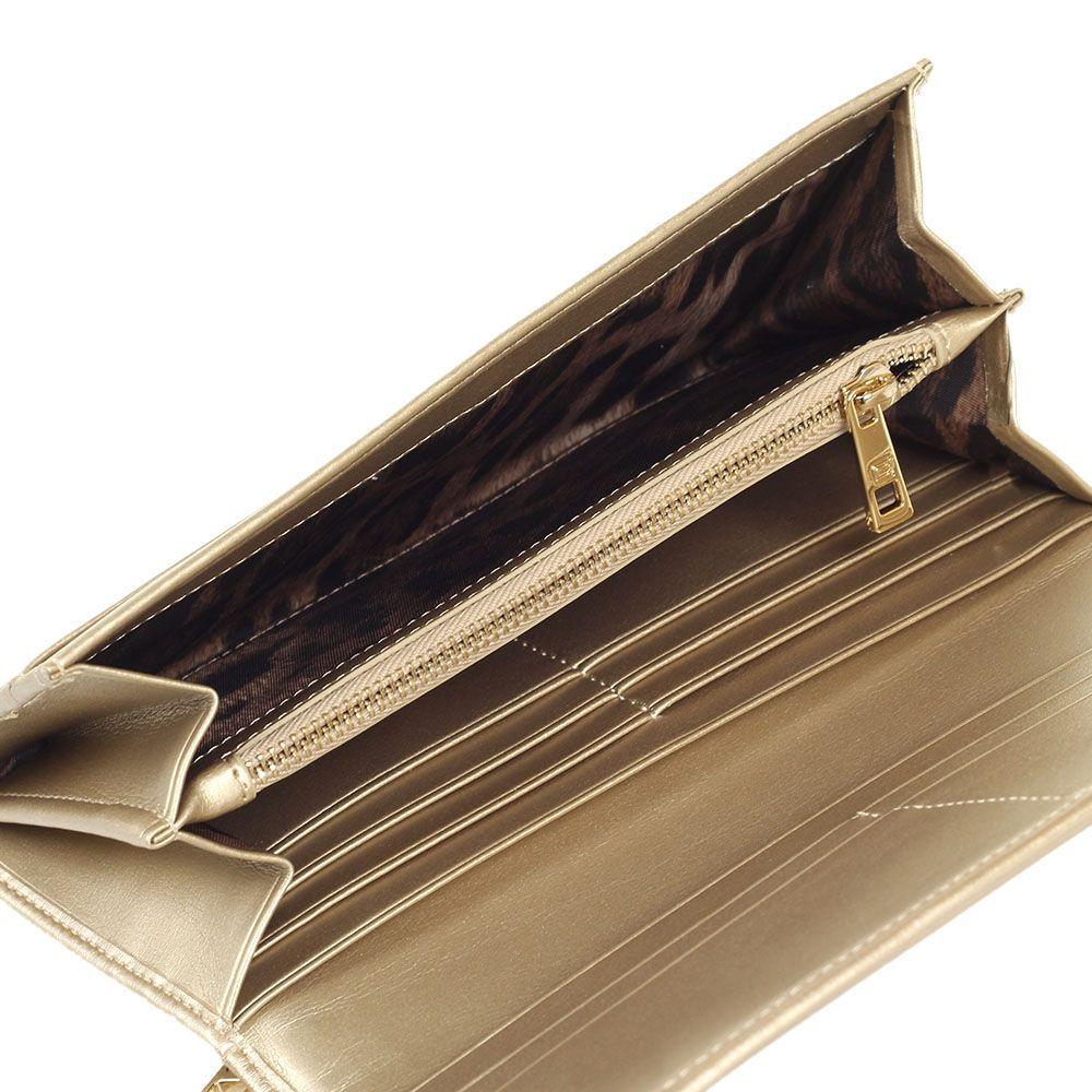 Портмоне женское Cavalli Class цвета с фирменной змеей из кожи золотого цвета