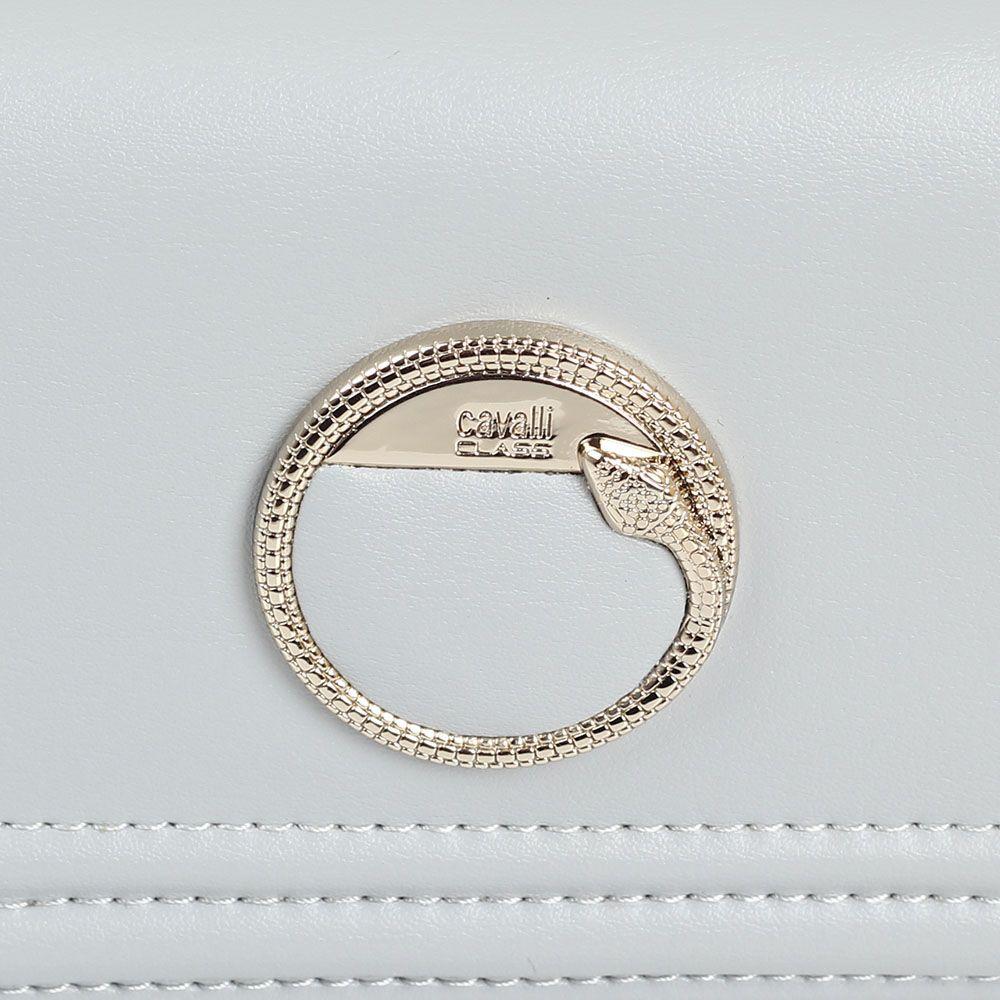 Кошелек Cavalli Class Bel Air кожаный серого цвета с декором в виде фирменной змеи