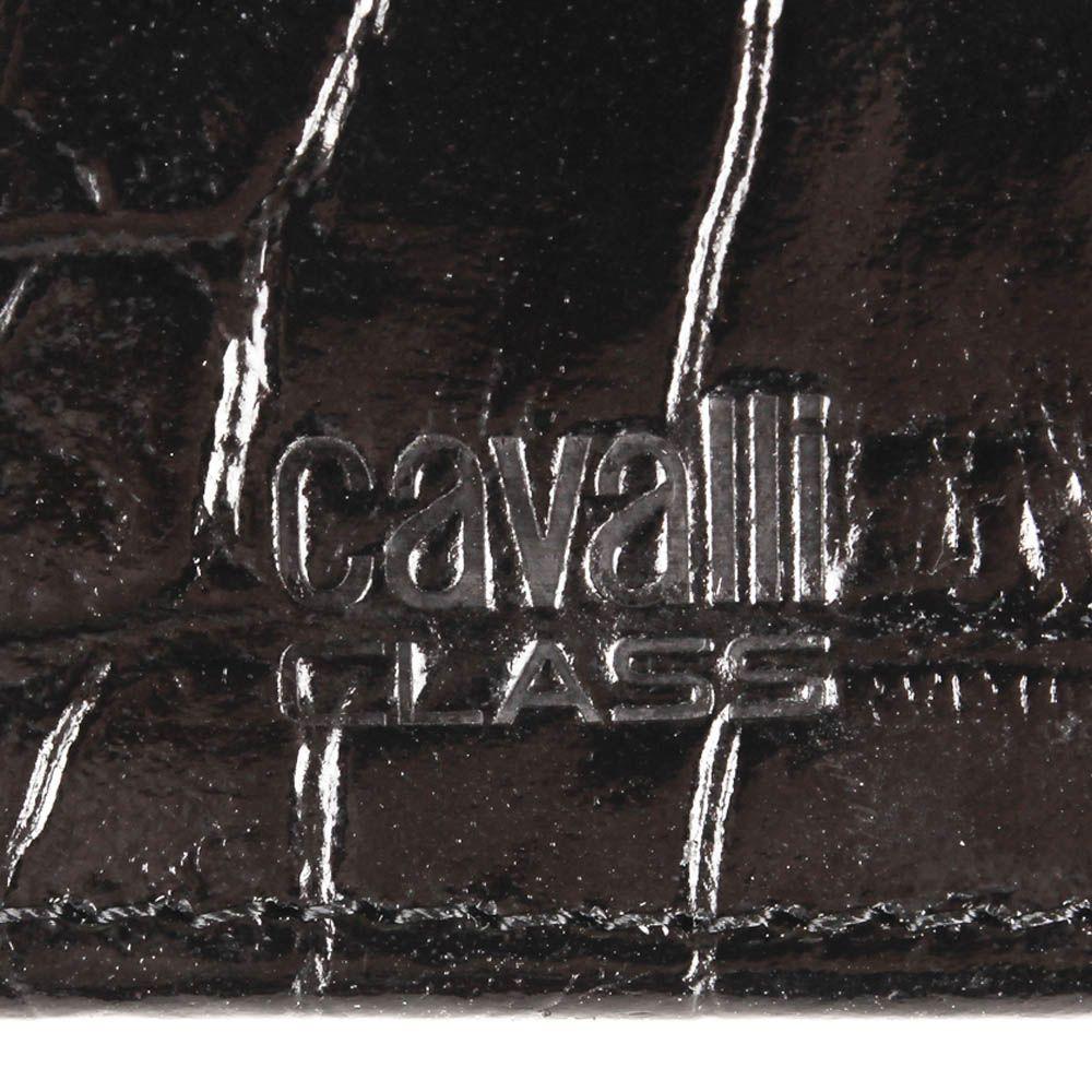Портмоне Cavalli Class Alexander черного цвета квадратное лаковое с тиснением под кожу крокодила