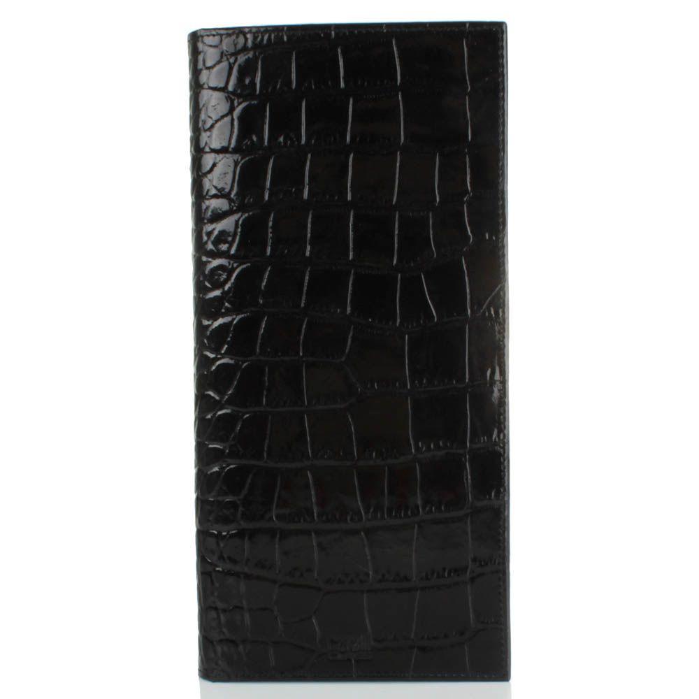 Травел-кейс Cavalli Class Alexander черного цвета лаковый с тиснением под кожу крокодила