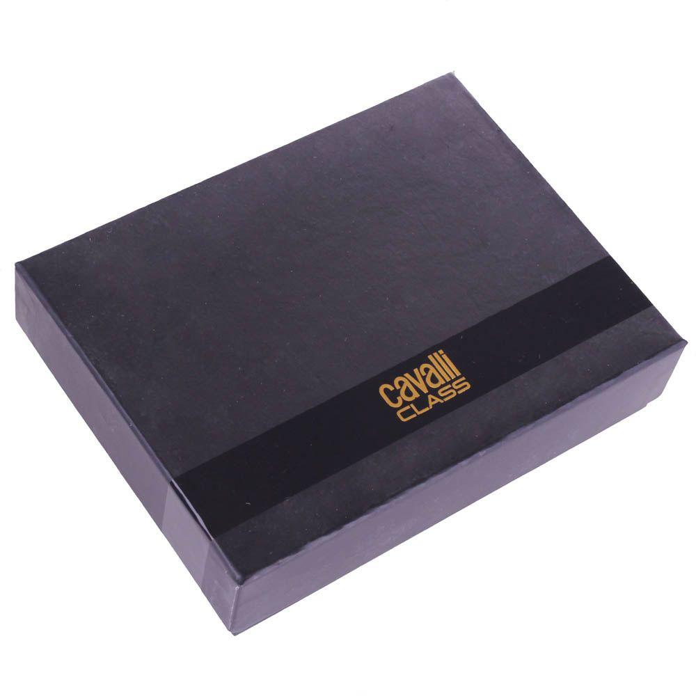 Портмоне мужское Cavalli Class Astoria черного цвета с сафьяновой отделкой кожи