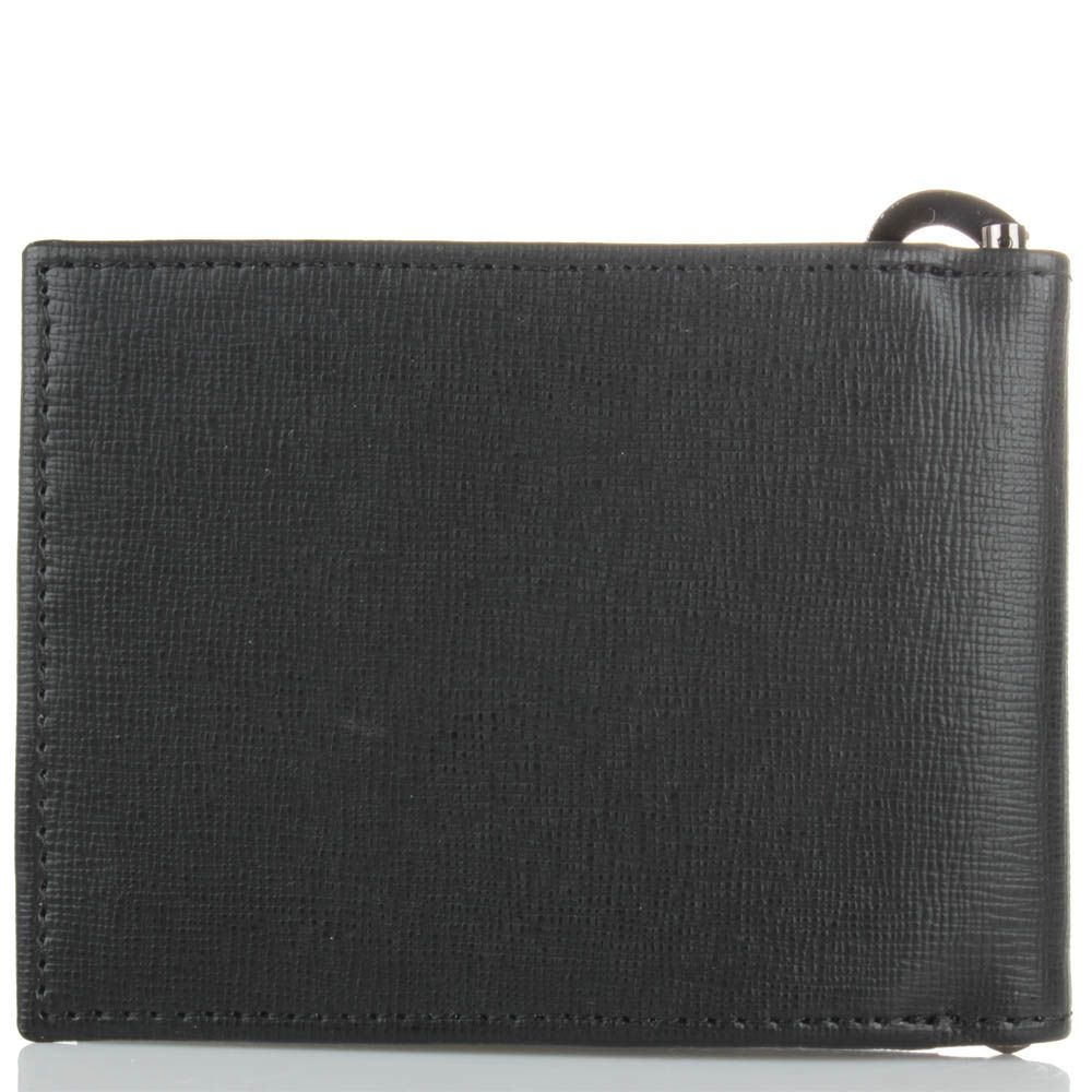 Мужское портмоне Cavalli Class Astoria черного цвета с сафьяновой отделкой кожи и с металлическим держателем для купюр