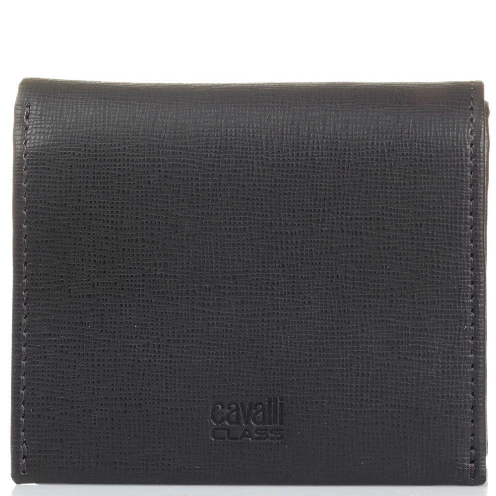Мини портмоне Cavalli Class Astoria темно-коричневого цвета с сафьяновой отделкой кожи