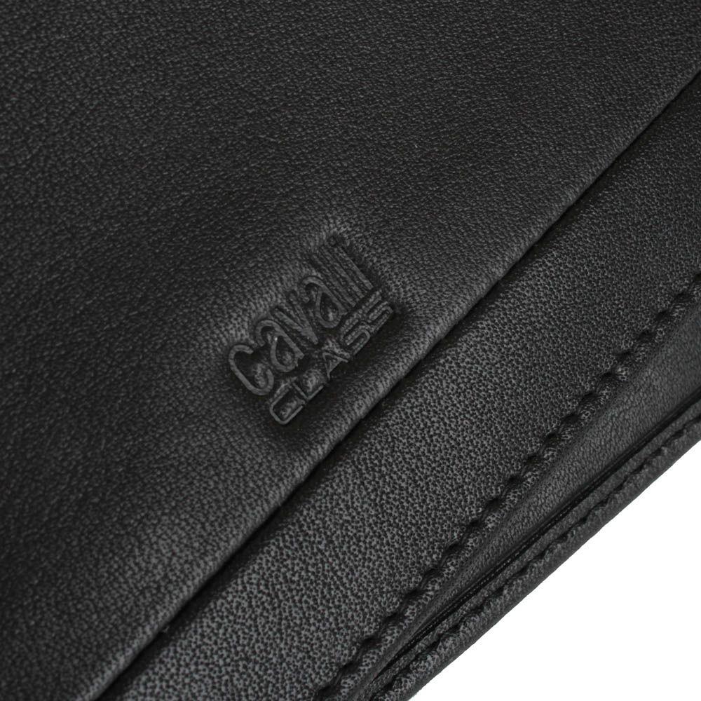Портмоне мужское Cavalli Class Hoxton черного цвета из гладкой кожи с декоративным швом вдоль всей длины
