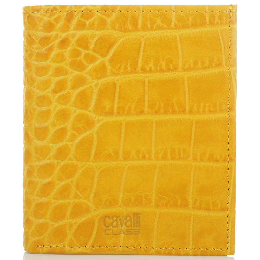 Мини портмоне Cavalli Class желтого цвета с тиснением под кожу крокодила