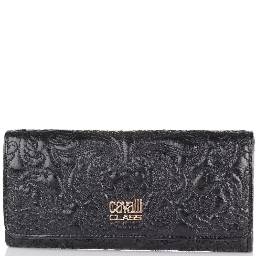 Портмоне Cavalli Class Chloe черного цвета узкое с вышитым узором