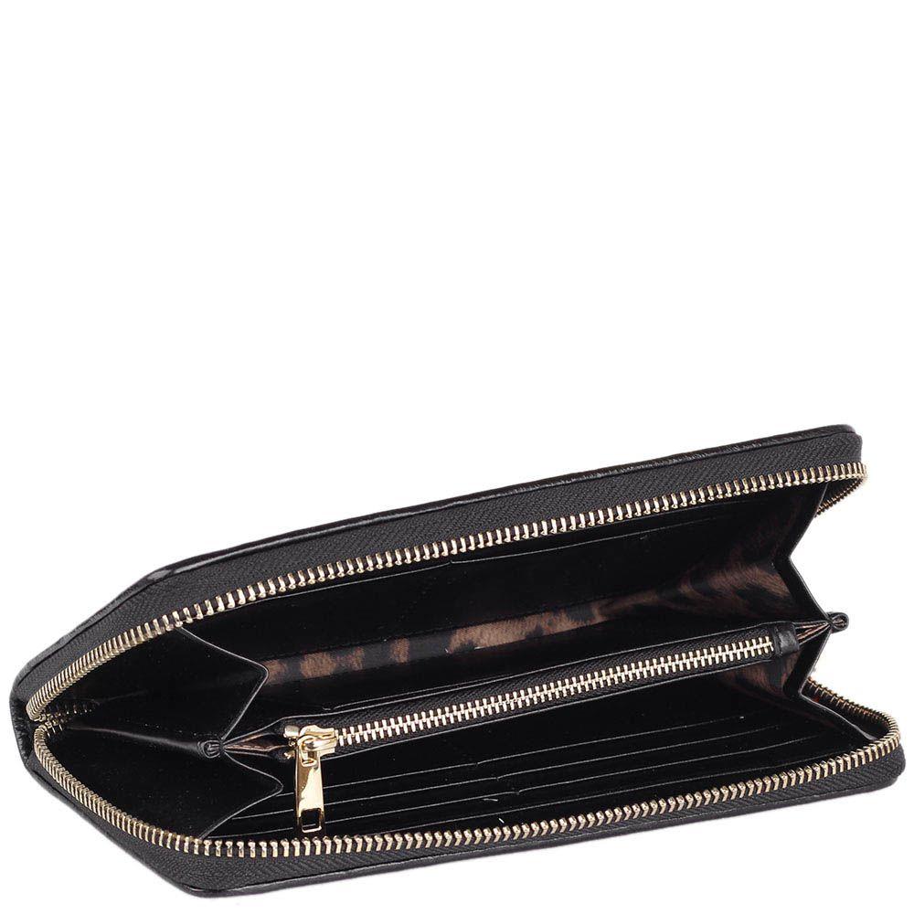 Портмоне Cavalli Class Chloe черного цвета с вышитым узором и на молнии