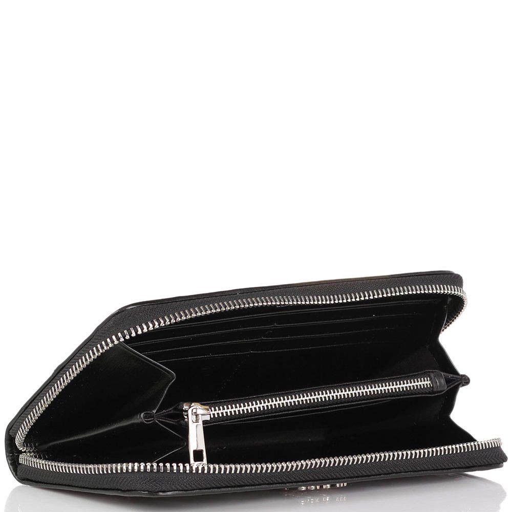Портмоне Cavalli Class Jolie черного цвета с перфорированным узор серебристой подкладкой