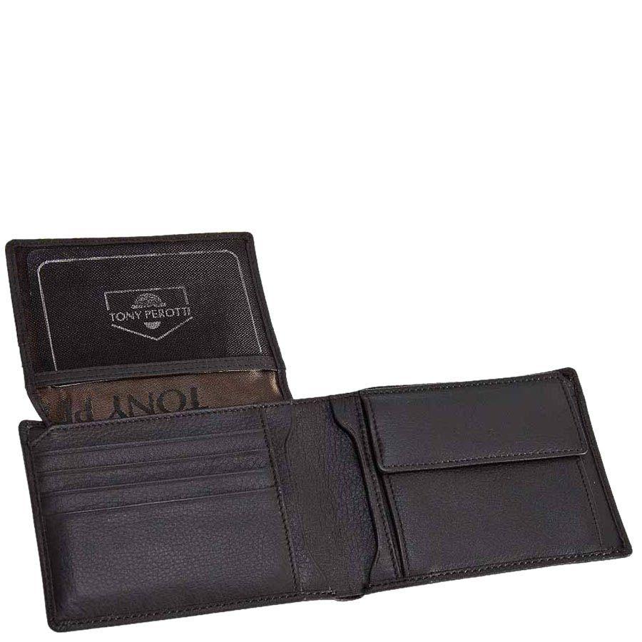 Классический кошелек Tony Perotti Contatto из зернистой коричневой кожи с шильдой
