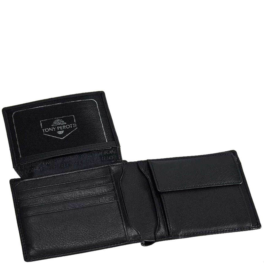 Черный мужской кошелек Tony Perotti Contatto с множеством отделений для карт