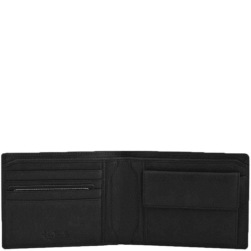 Горизонтальное черное портмоне Tony Perotti Contatto из зернистой кожи с шильдой