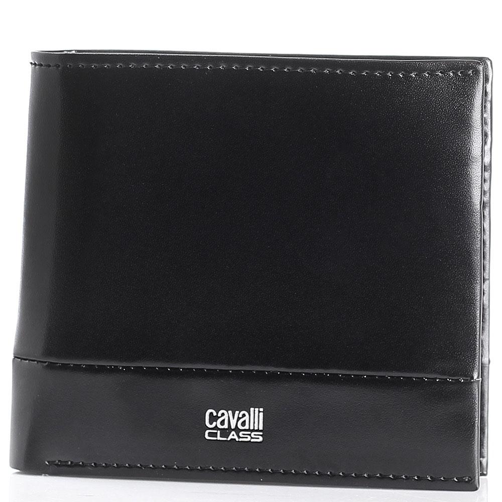 Портмоне Cavalli Class Executive из гладкой черной кожи с декоративной строчкой