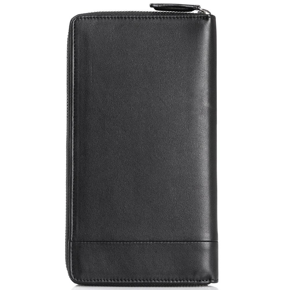 Портмоне-тревеллер черного цвета Cavalli Class Executive Napp из кожи с декоративной строчкой