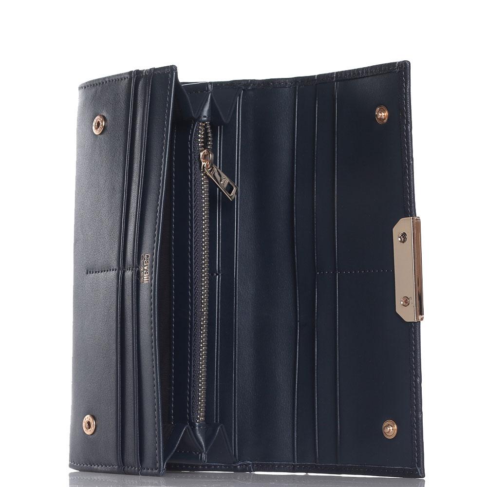 Синий кошелек Cavalli Class Anaconda на кнопках