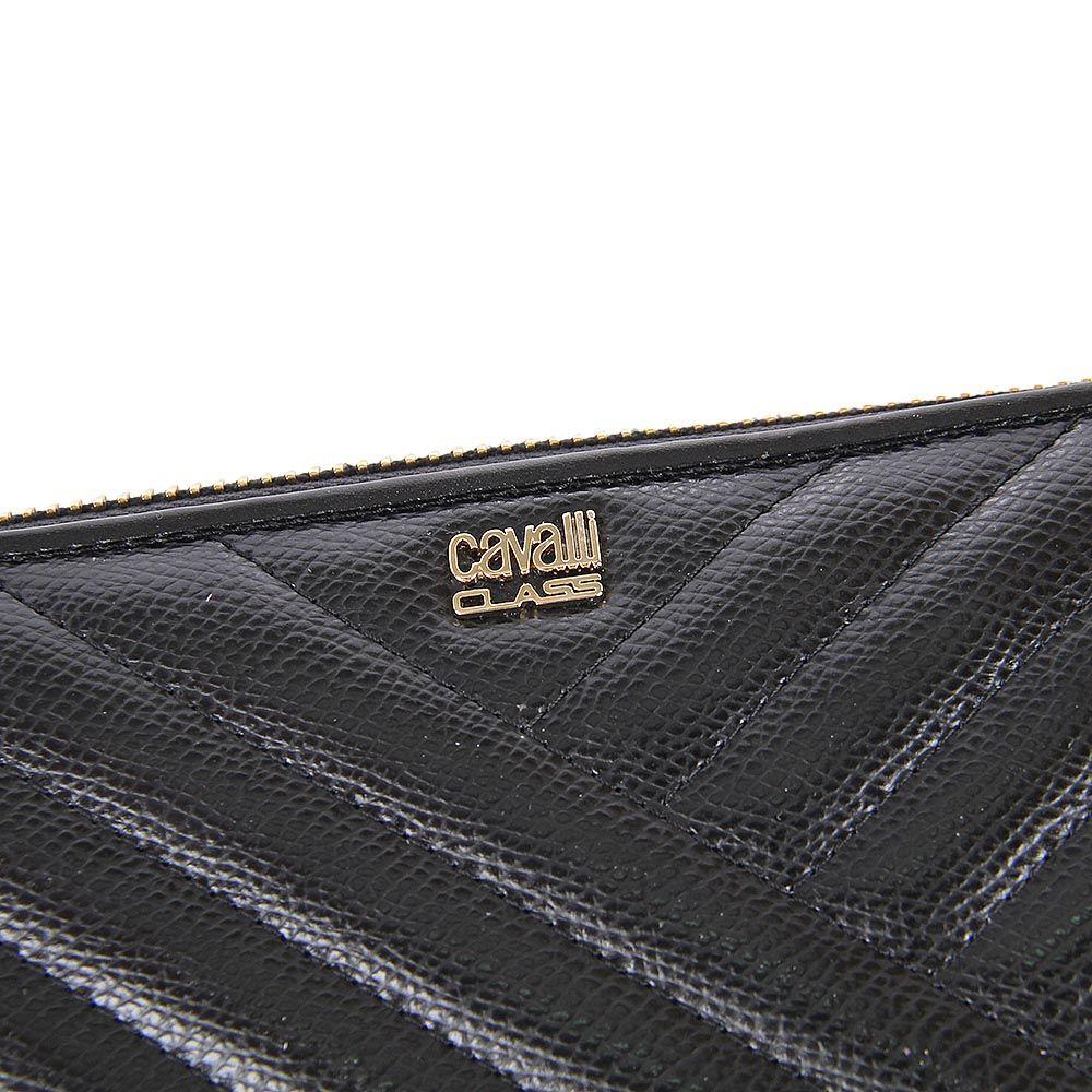 Портмоне женское Cavalli Class Idol черное со строчками