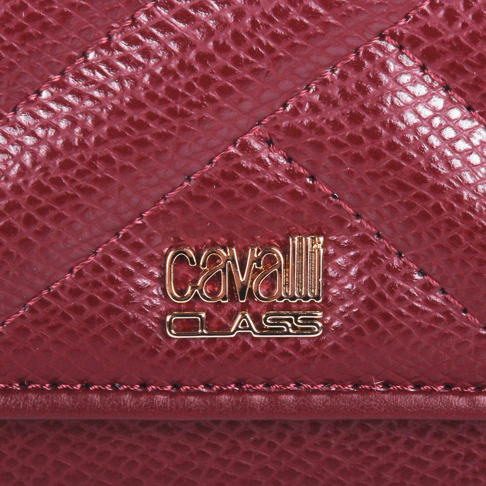 Портмоне Cavalli Class Idol бордового цвета стеганое с внешней монетницей на молнии