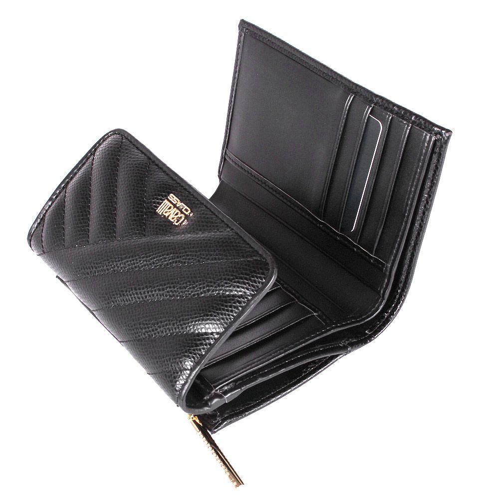 Портмоне Cavalli Class Idol черного цвета стеганое с внешней монетницей на молнии