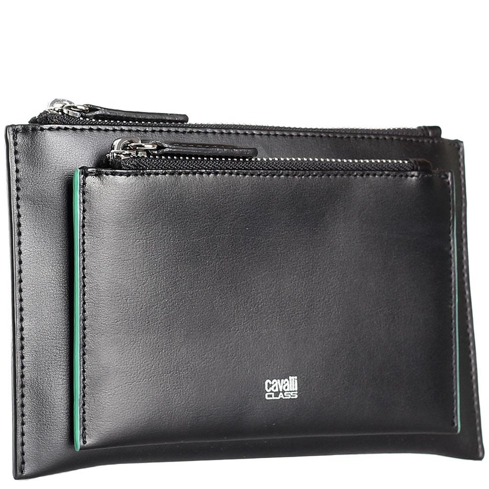 Черное портмоне Cavalli Class Neon Nappa из гладкой кожи