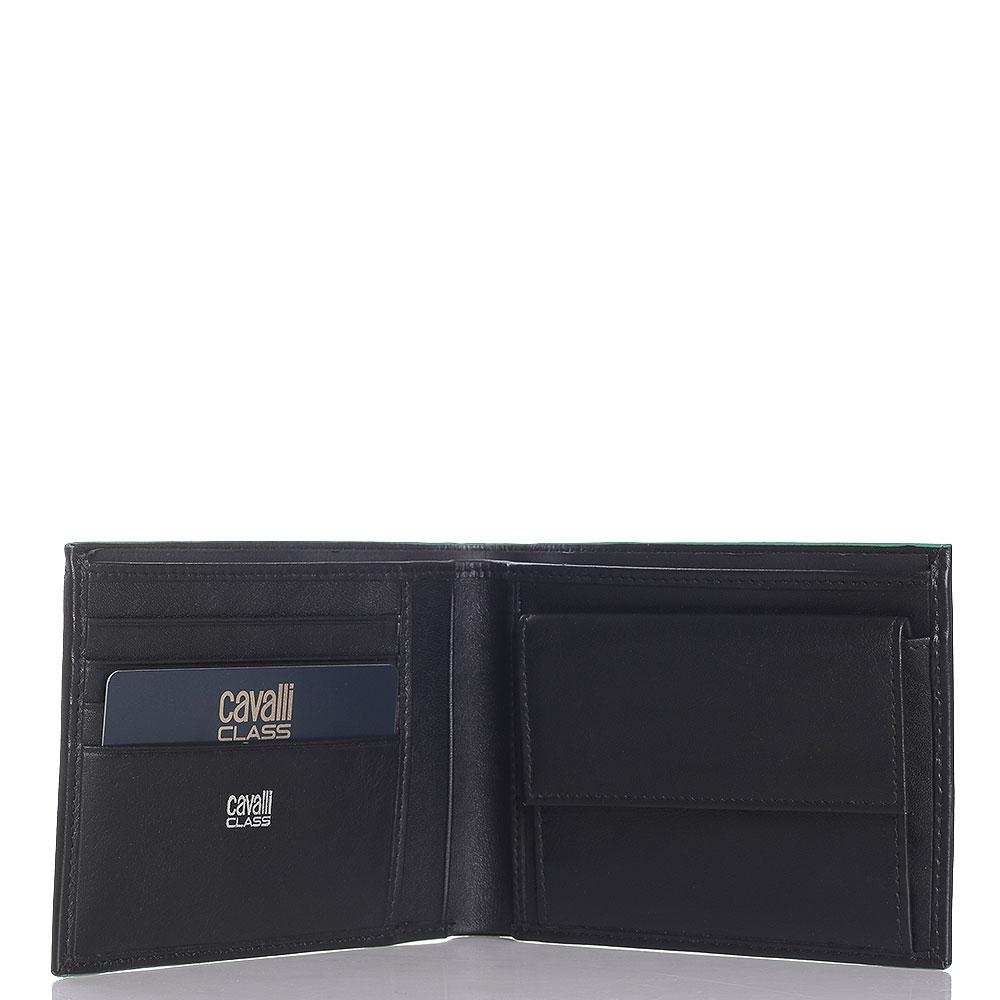 Черное портмоне Cavalli Class Neon Nappa с монетницей