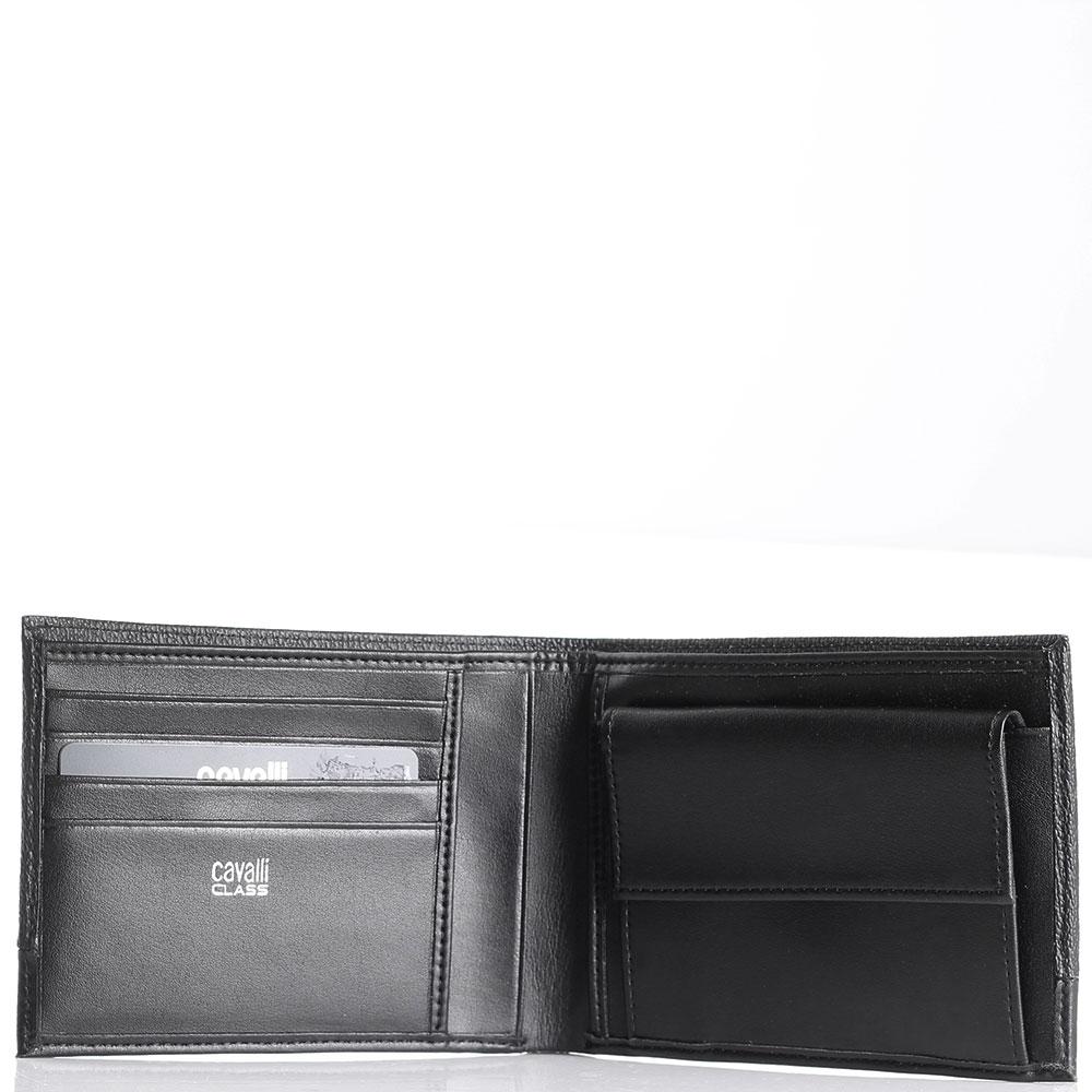 Мужское портмоне Cavalli Class Signature Colle из рельефной черной кожи