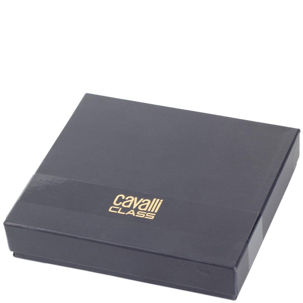 Кожаный кардхолдер Cavalli Class черного с бордовым цвета декорированный фирменной головой леопарда