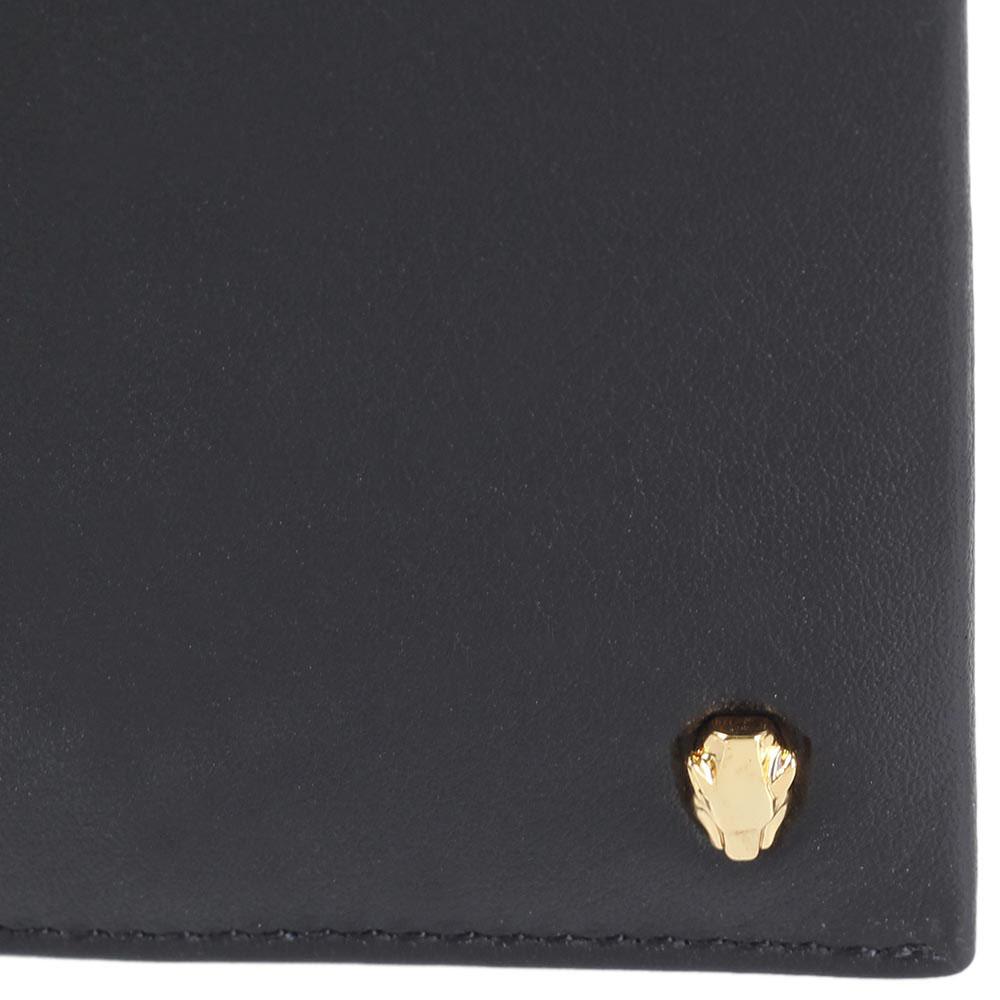 Кожаное мужское портмоне Cavalli Class с фирменным элементом в форме головы леопарда