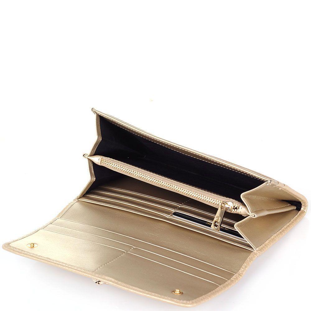 Портмоне женское Cavalli Class Pantera Oh My Gold золотого цвета и металлической головой пантеры на клапане
