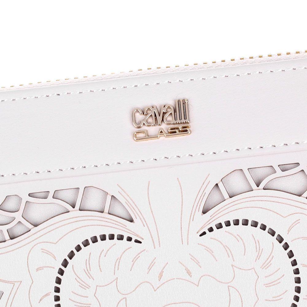 Портмоне женское Cavalli Class Icon Love Lace бежевого цвета с цветочной перфорацией