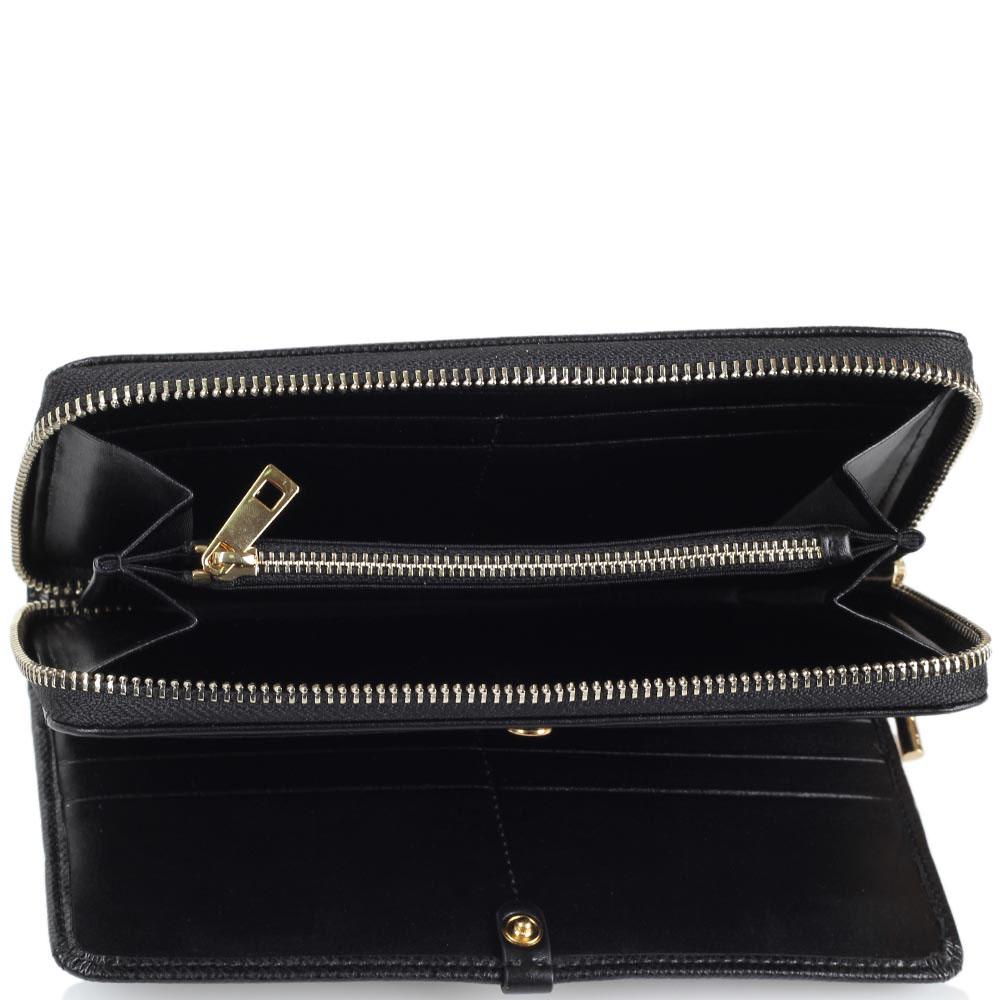 Женское портмоне Cavalli Class черного цвета с декором из мелких заклепок