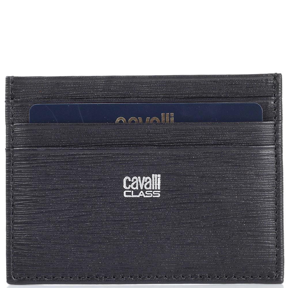 Кардхолдер Cavalli Class черного цвета из гладкой кожи и кожи Сафьяно