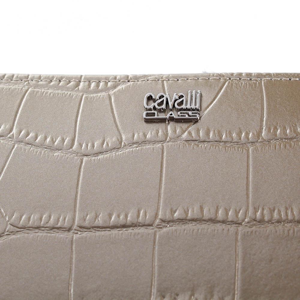 Кошелек Cavalli Class London золотистого цвета с тиснением Кроко