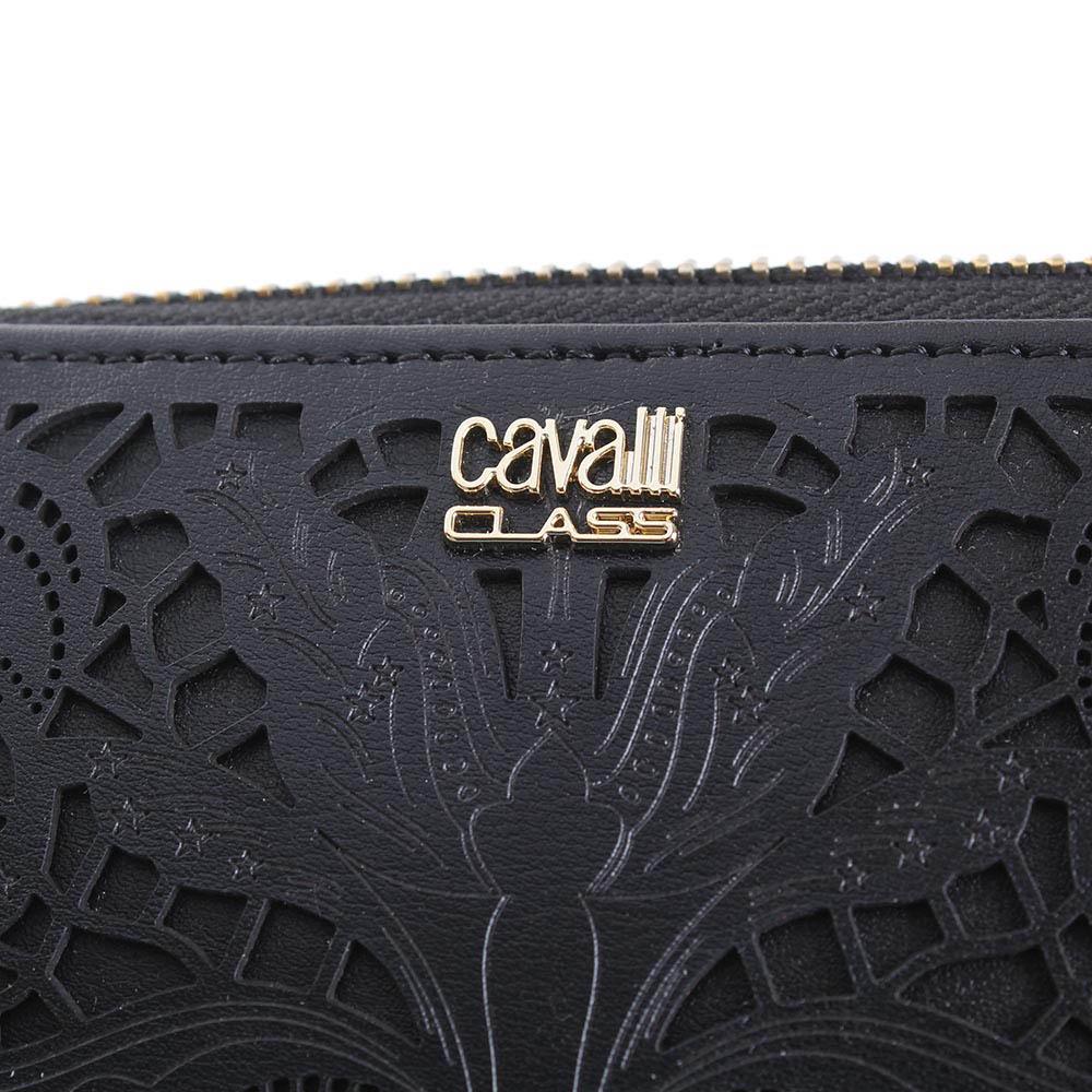Кошелек Cavalli Class Stardust черного цвета с декоративной перфорацией