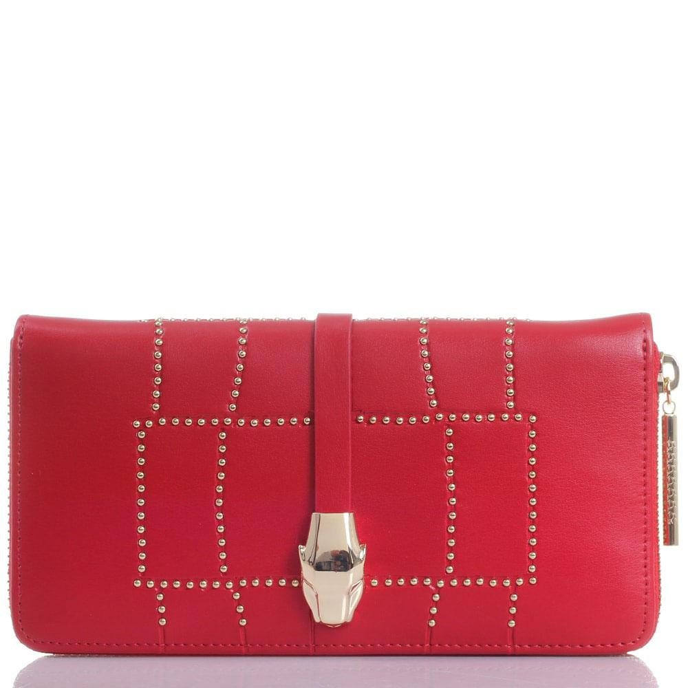 Кошелек из красной кожи Cavalli Class Croco Lux декорированный заклепками
