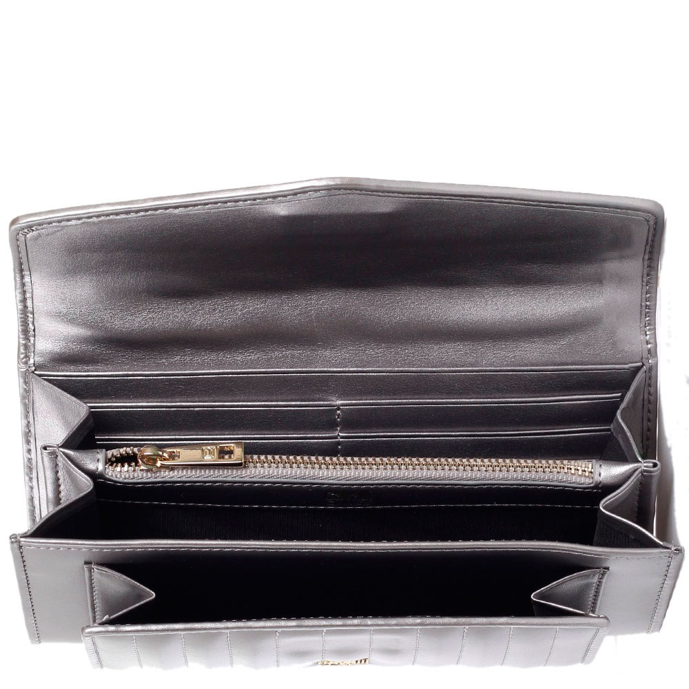 Кошелек из кожи с паралельными строчками Cavalli Class Celebrity серебристого цвета