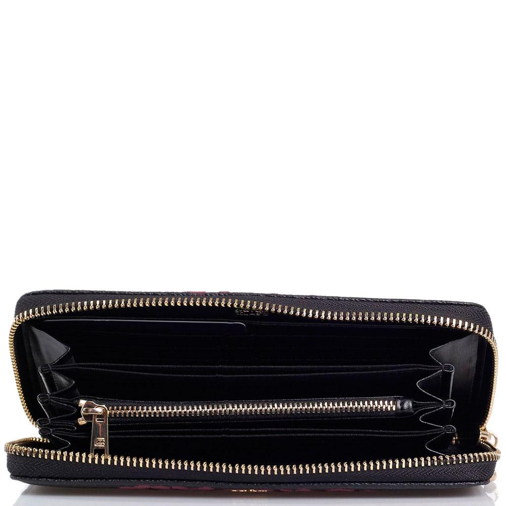 Кошелек из фактурной кожи Cavalli Class Velvet черного цвета