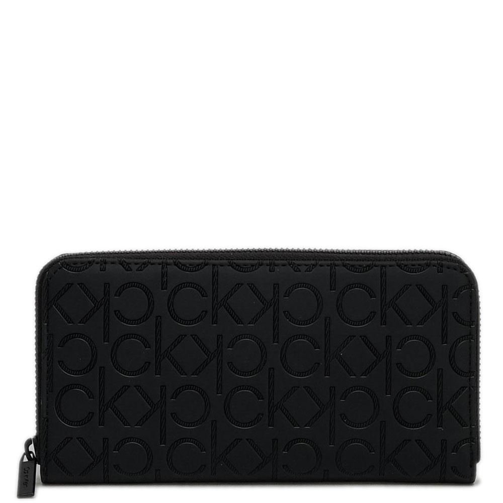 Черный кошелек Calvin Klein с брендовым тиснением