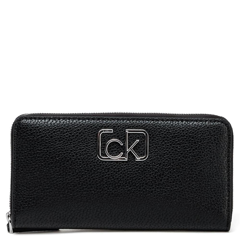 Черный кошелек Calvin Klein с брендовым логотипом