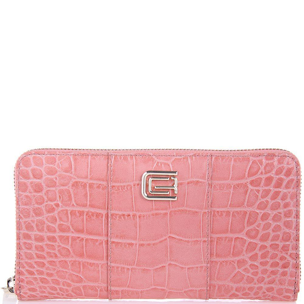 Портмоне женское Cavalli Class Keira кожаное светло-розового цвета большое на молнии