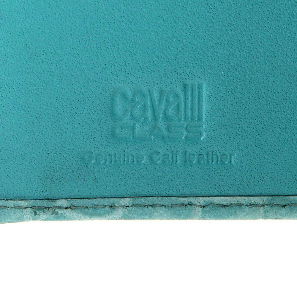 Портмоне женское Cavalli Class Keira кожаное лаковое нежно-бирюзового цвета