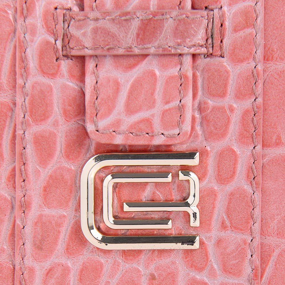 Кардхолдер Cavalli Class кожаный розовый маленький