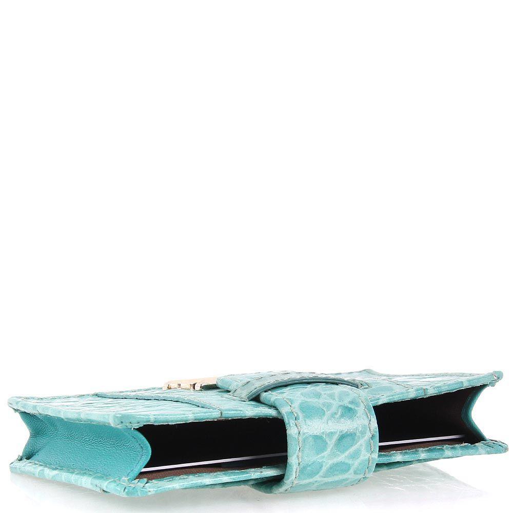 Кардхолдер Cavalli Class Keira кожаное бирюзовое маленькое