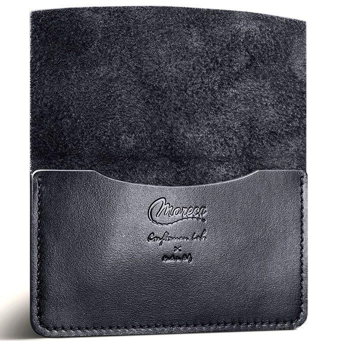 Визитница Moreca Black Card Case из кожи на резинке