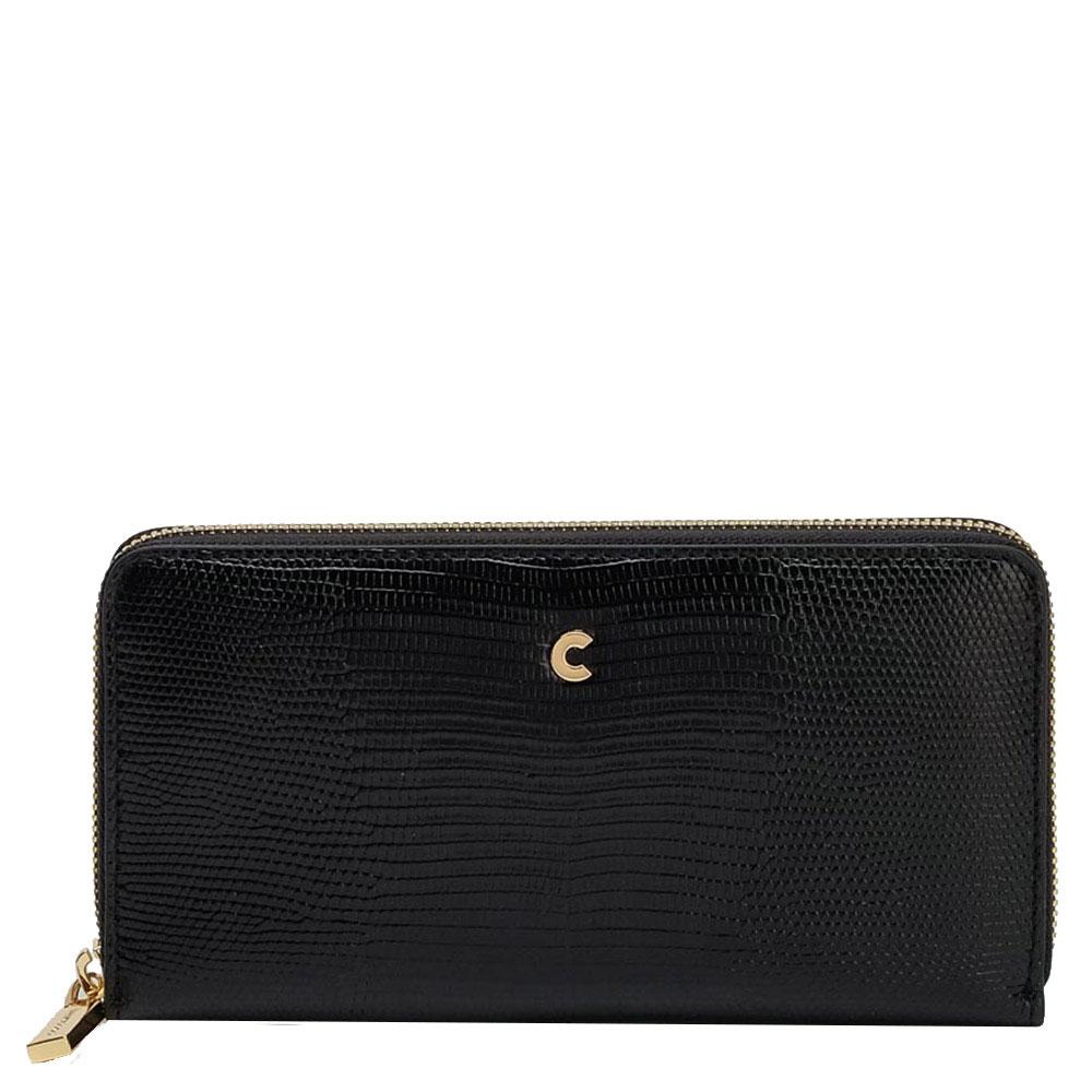 Черный лаковый кошелек Coccinelle с принтом и логотипом