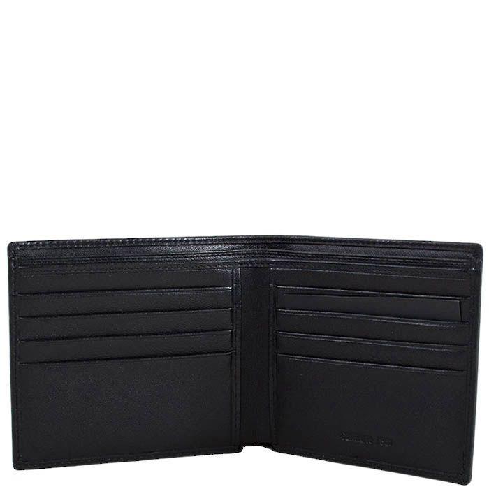 Черное портмоне Cerruti 1881 с множеством карманов и фирменным штампом