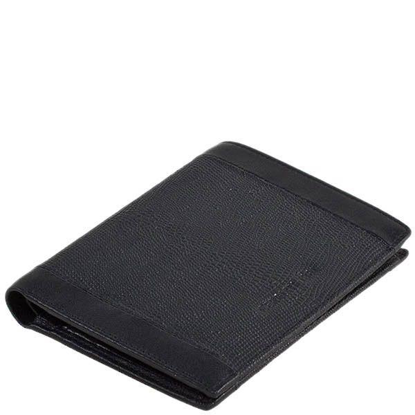 Черное кожаное портмоне Cerruti 1881 с отделкой под варана