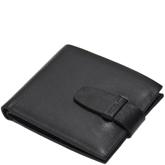 Черное портмоне из кожи Cerruti 1881 с застежкой-ремешком