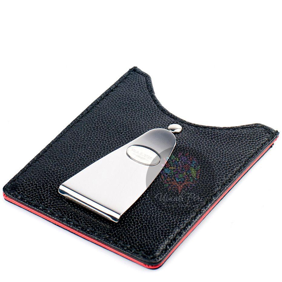 Черный футляр Dalvey для кредитных карт с красной отделкой и зажимом для денег