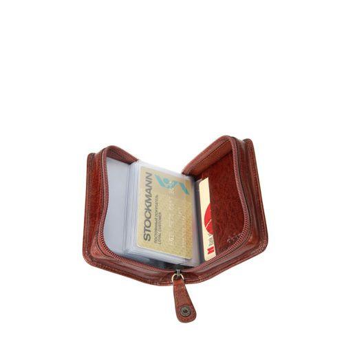 Кредитница Diplomat кожаная коричневая на молнии